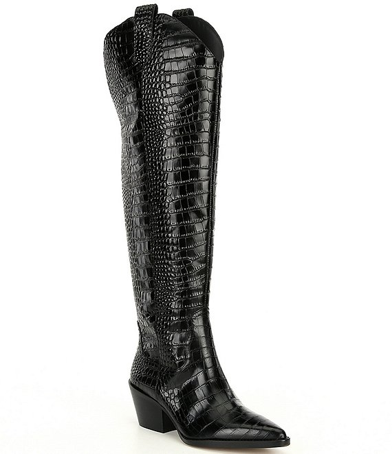 Color:Black - Image 1 - Colbbiye Wide Calf Croc Embossed Western Tall Boots