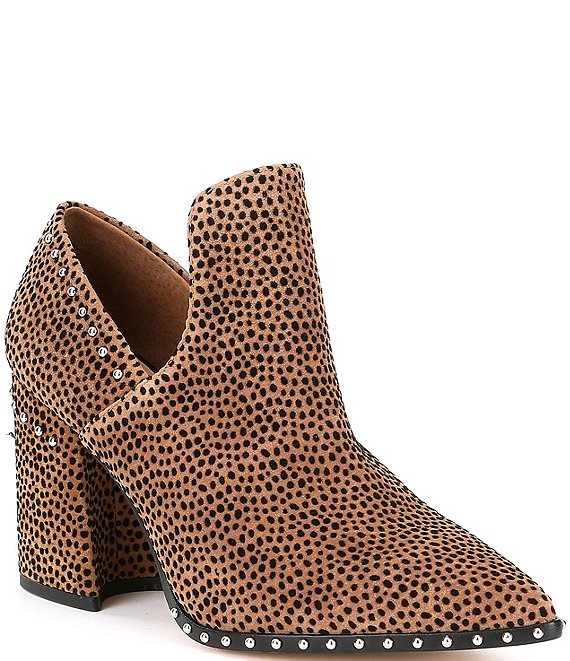 Color:Leopard - Image 1 - Daveigh Cheetah Print Suede Studded Western Block Heel Booties