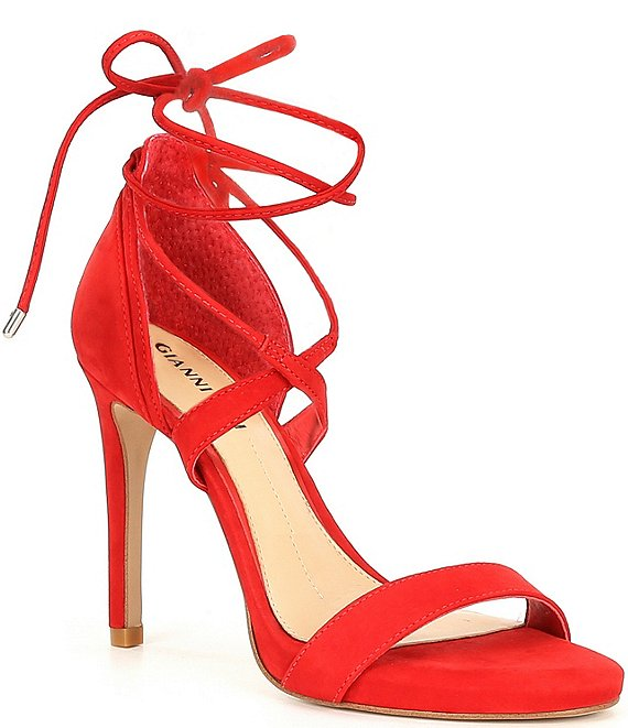 Color:Santorini Red - Image 1 - Daymey Strappy Ankle-Tie Dress Sandals