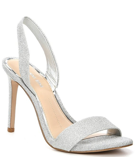Color:Silver - Image 1 - Devlyy Glitter Sling Back Stiletto Dress Sandals