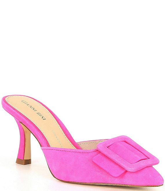 Color:Poppy Pink - Image 1 - Ellsiee Suede Buckle Dress Mules