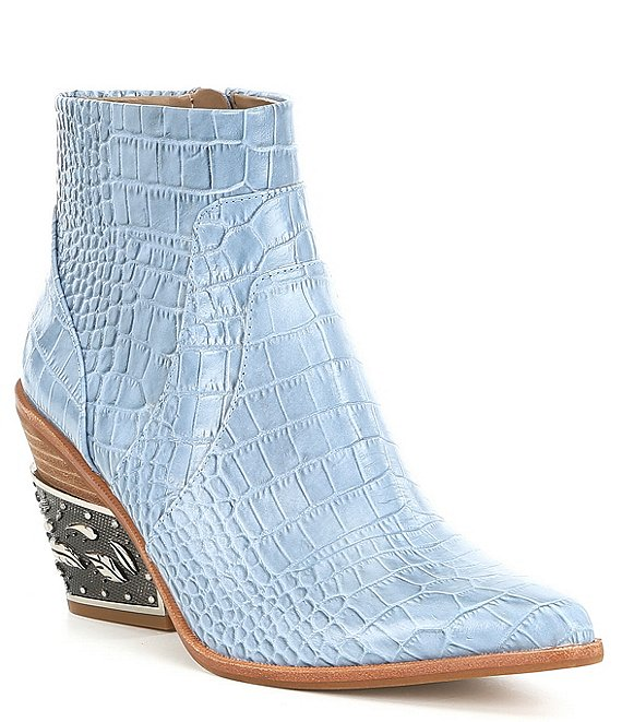Color:Thunder Blue - Image 1 - Eviee Luxury Croc Embossed Pointed Toe Metal-Heel Western Booties
