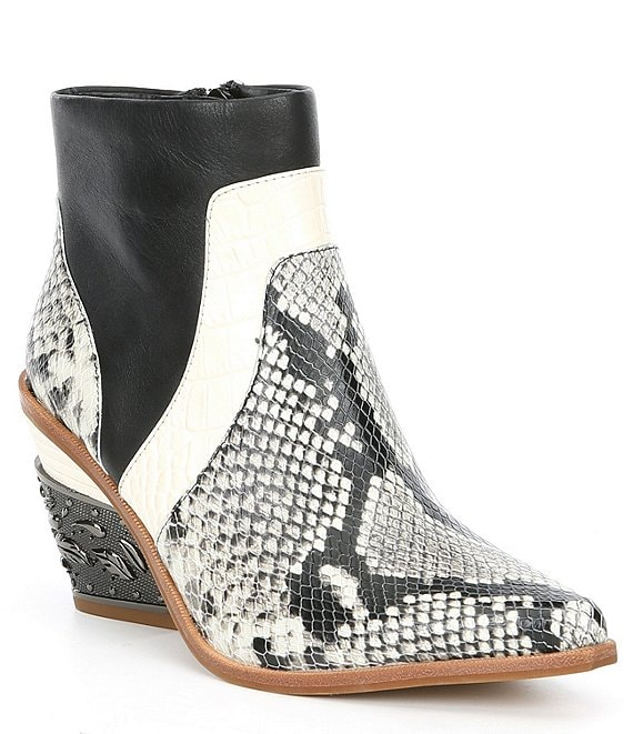 Color:Off White/Multi - Image 1 - Eviee Snake Print Metal Block Heel Western Booties