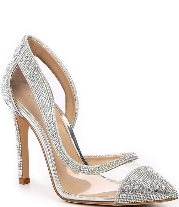 Color:Silver - Image 1 - FalennTwo Clear Rhinestone Embellished Pointed Toe Pumps