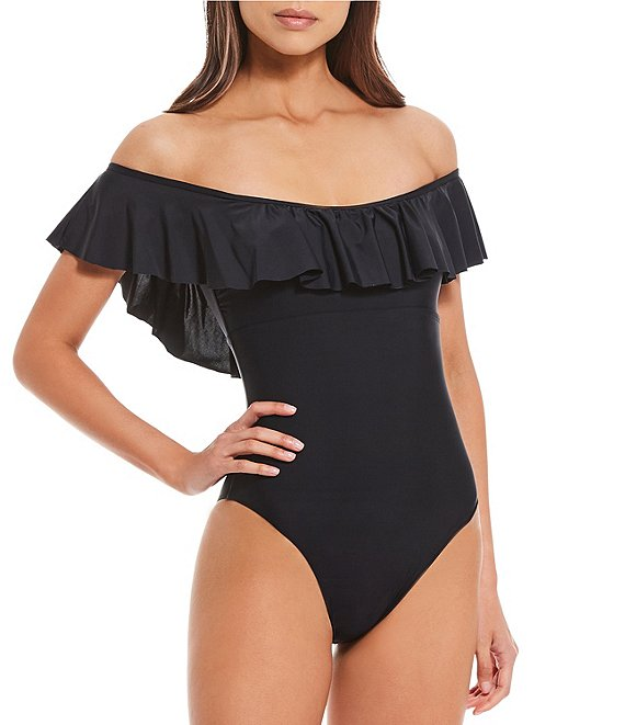 Color:Black - Image 1 - Fan Favs Solid Off-the-Shoulder Ruffle One Piece Swimsuit
