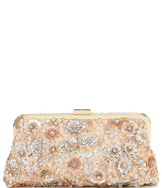 Color:Pink - Image 1 - Floral Embellished Lace Frame Clutch