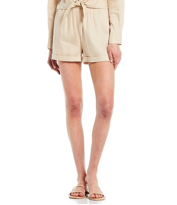 Color:Natural - Image 1 - High Waist Linen Trish Shorts