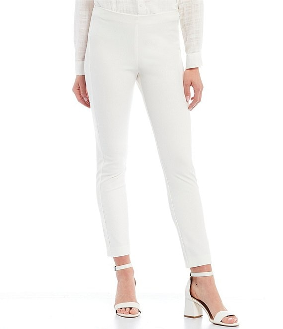 Color:Ivory - Image 1 - Houston High Rise Slim Leg Pants