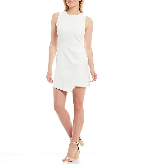 Color:Ivory - Image 1 - Isabella Round Neck Sleeveless Ruched Crepe Dress
