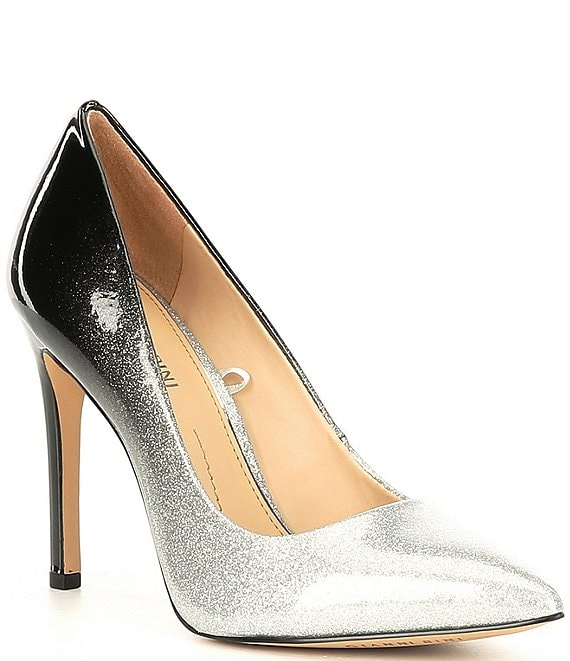 Color:Silver/Black - Image 1 - Ivyya Two Tone Ombre Patent Pointy-Toe Pumps