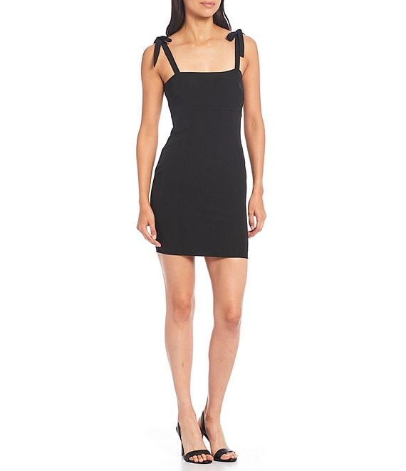 Color:Black - Image 1 - Izzy Tie Strap Square Neck Crepe Dress