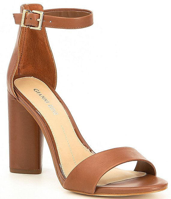 Color:Hampton Tan - Image 1 - Joenah Two Piece Ankle Strap Block Heel Dress Sandals
