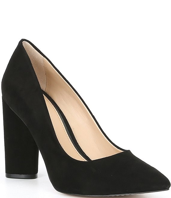 Color:Black - Image 1 - Kaislie Suede Block Heel Pumps