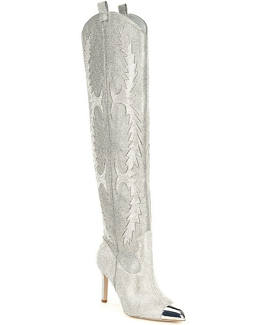 Color:Silver - Image 1 - KatyannaTwo Rhinestone Embellished Over-the-Knee Western Dress Boots