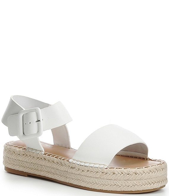 Color:White - Image 1 - Kaygan Leather Espadrille Flatform Sandals