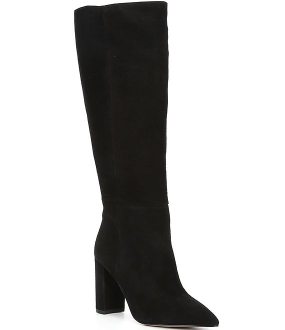 Color:Black - Image 1 - Kellbie Suede Tall Block Heel Boots