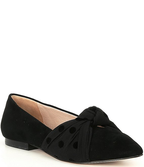 Color:Black - Image 1 - Keyllann Knotted Polka Dot Detail Point Toe Flats
