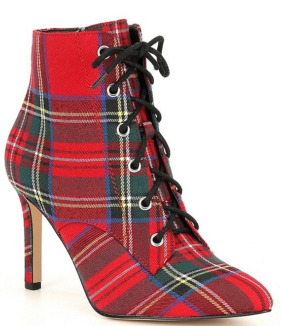 Color:Red/Multi - Image 1 - Khleoe Plaid Lace Up Booties