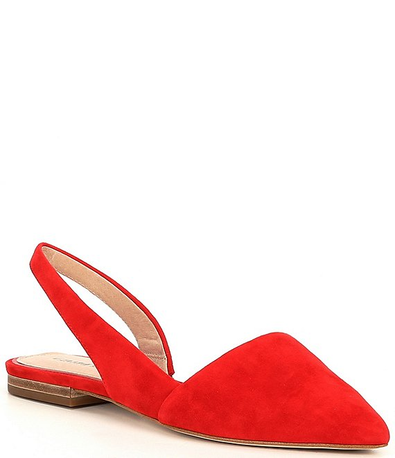 Color:Lorenz Red - Image 1 - Kiranne Suede Sling Back Point Toe Flats