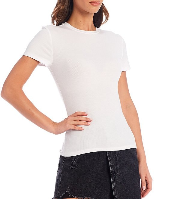 Color:White - Image 1 - Knit Gabby Short Sleeve Tee