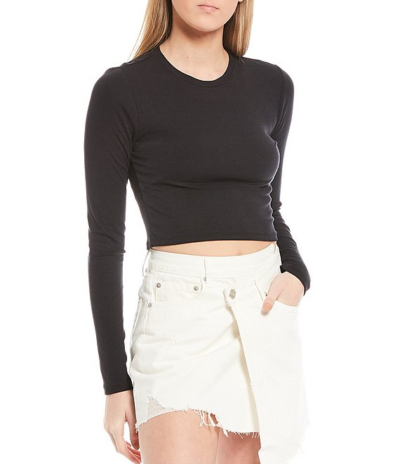 Color:Black - Image 1 - Knit Sady Long Sleeve Crop Tee