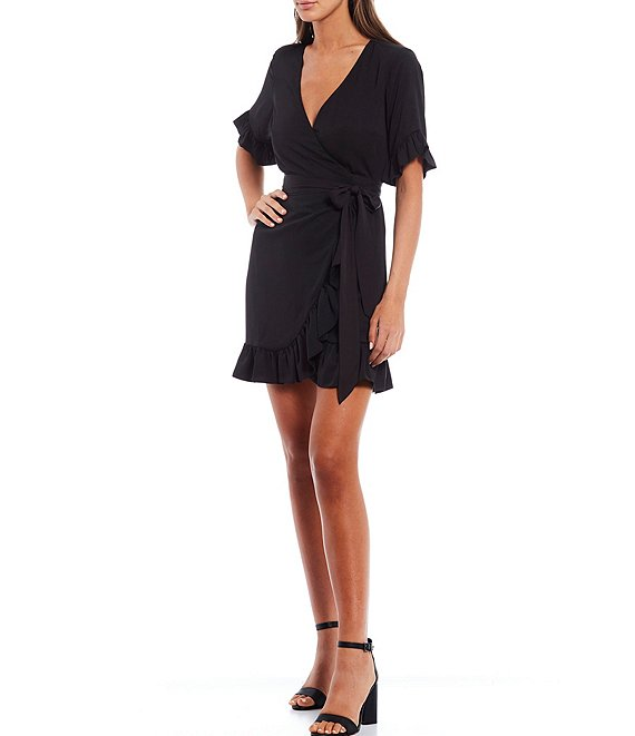 Color:Black - Image 1 - Lauren Short Sleeve V-Neck Wrap Dress