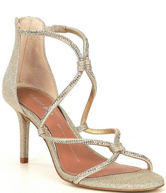 Color:Sand Gold - Image 1 - Livisa Rhinestone Cross-Strap Sandals