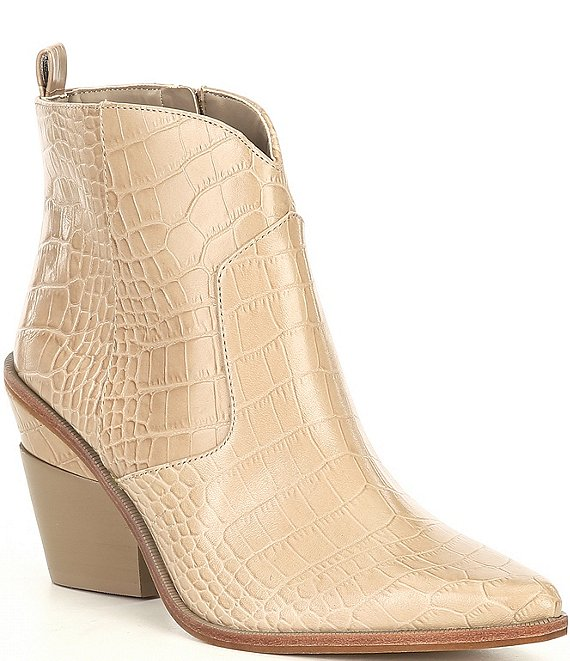 Color:Dusty Taupe - Image 1 - Maelyie Croc Embossed Western Booties