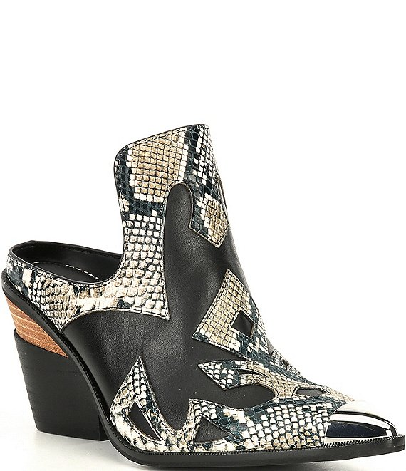 Color:White/Black - Image 1 - Maerren Snake Print Pieced Western Mules