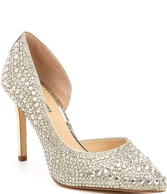 Color:Sand Gold - Image 1 - Mairah Jeweled d'Orsay Stiletto Pumps