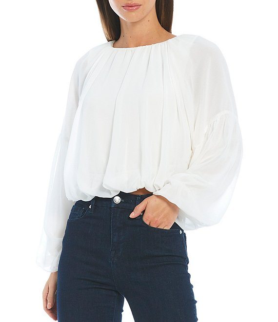 Color:Ivory - Image 1 - Maurissa Chiffon Long Sleeve Knit Top