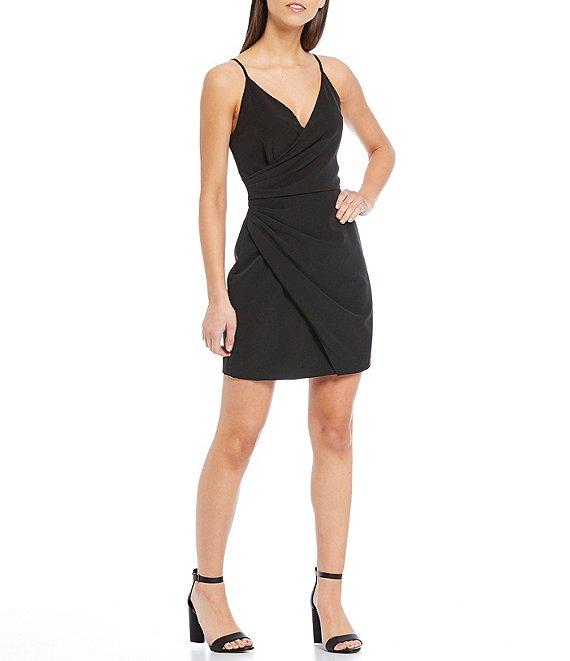 Color:Black - Image 1 - Natalie V-Neck Spaghetti Strap Crepe Faux Wrap Dress