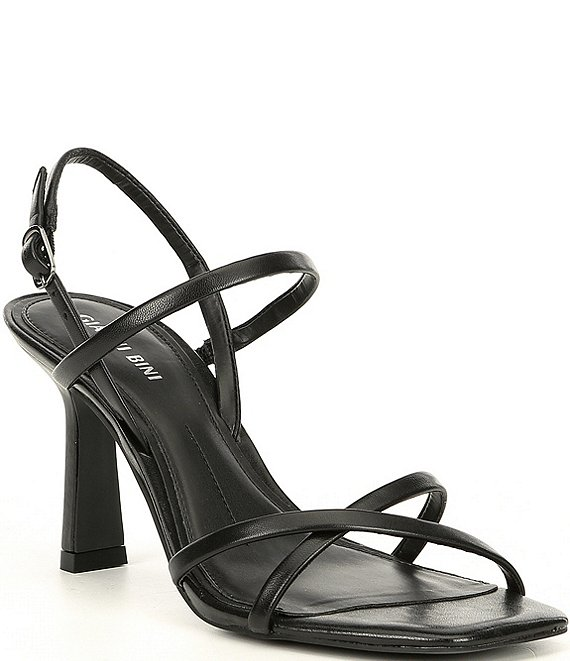 Color:Black - Image 1 - Neveena Leather Square Toe Dress Sandals