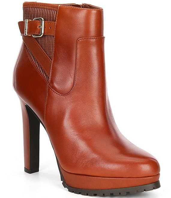 Color:Dark Amber - Image 1 - Oliveen Leather Buckle Detail Dress Lug Sole Booties