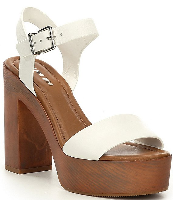 Color:White - Image 1 - Palmeera Wood Platform Block Heel Sandals
