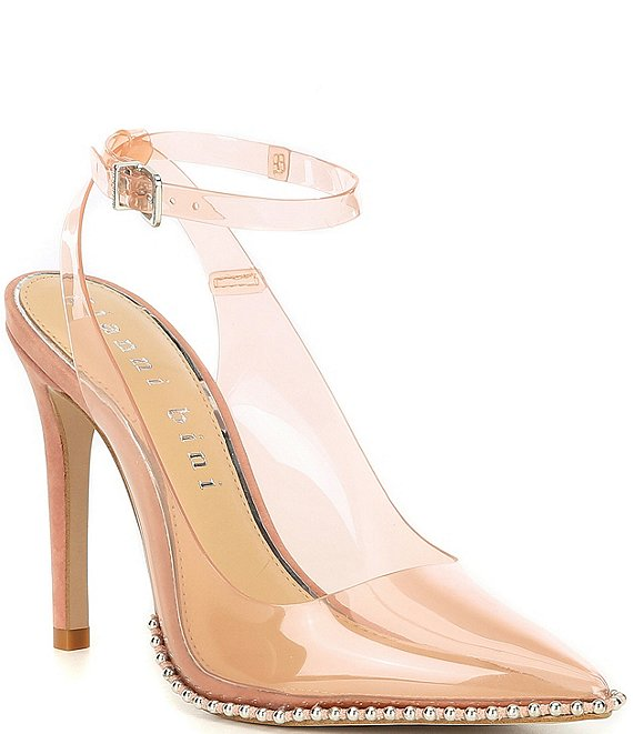 Color:Glam Nude - Image 1 - Renatay Clear Vinyl Stud Detail Ankle-Strap Pumps