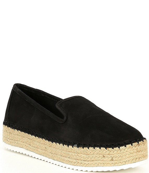 Color:Black - Image 1 - Sabble Slip On Suede Platform Espadrilles