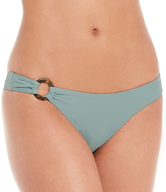 Color:Sage - Image 1 - Solid Asymmetrical Ring Cheeky Swim Bottom