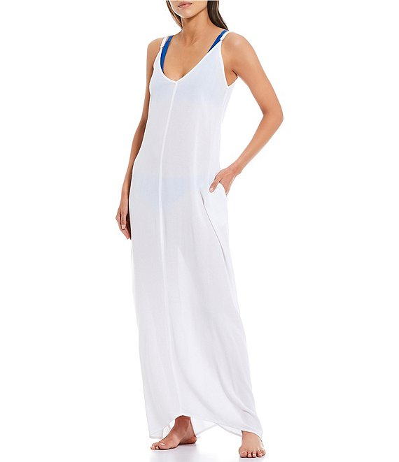 Color:White - Image 1 - Solid V-Neck Maxi Dress Swim Cover Up