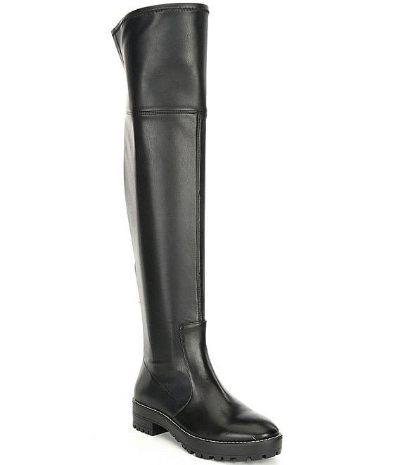 Color:Black - Image 1 - Sorenna Over-the-Knee Stretch Block Heel Boots