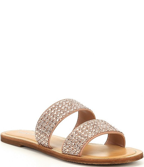 Color:Glam Nude - Image 1 - Stola Jeweled Banded Flat Sandals