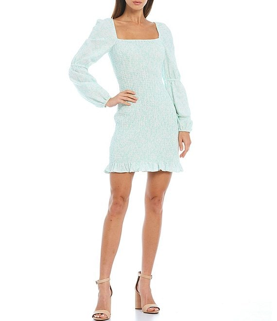Color:Ditsy Mint - Image 1 - Tally Long Sleeve Floral Square Neck Smocked Mini Dress