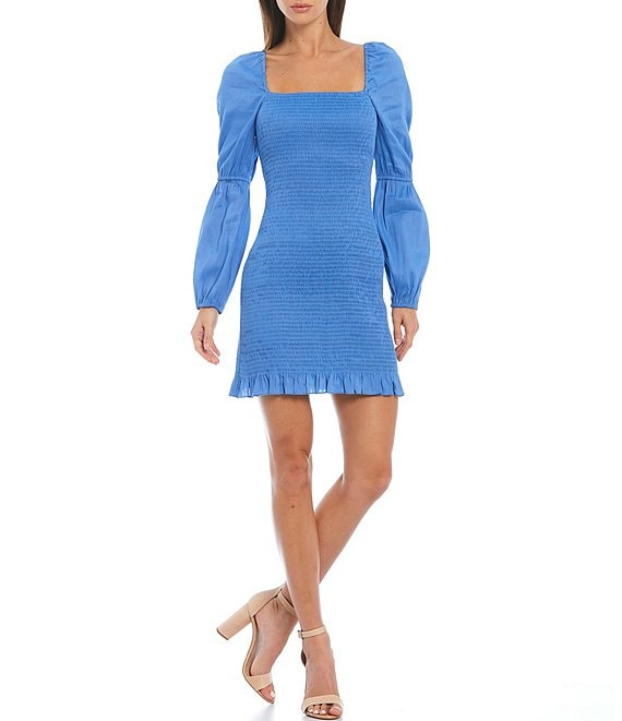 Color:Mid Blue - Image 1 - Tally Long Sleeve Square Neck Smocked Mini Dress