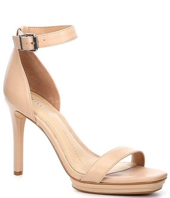 Gianni Bini Tovine Leather Two-Piece Stiletto Platform Square Toe Sandals