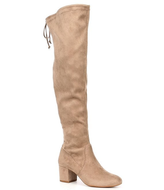 Color:Dusty Taupe - Image 1 - Trillia Block Heel Stretch Over-the-Knee Boots
