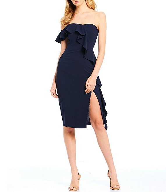 Color:Navy - Image 1 - Tye One Shoulder Cascading Ruffle Slit Front Midi Dress