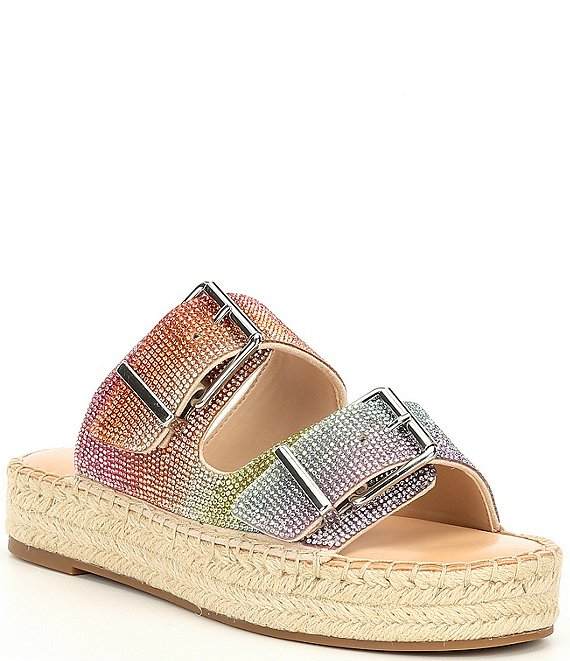 Color:Soft Bisque - Image 1 - Tyyla Rainbow Banded Flatforms