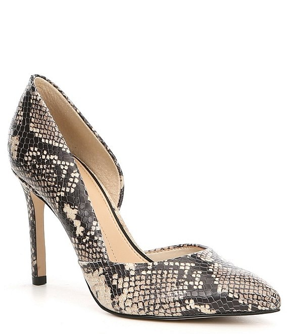 Color:Natural/Black - Image 1 - Venicia Snake Print Leather d'Orsay Pumps