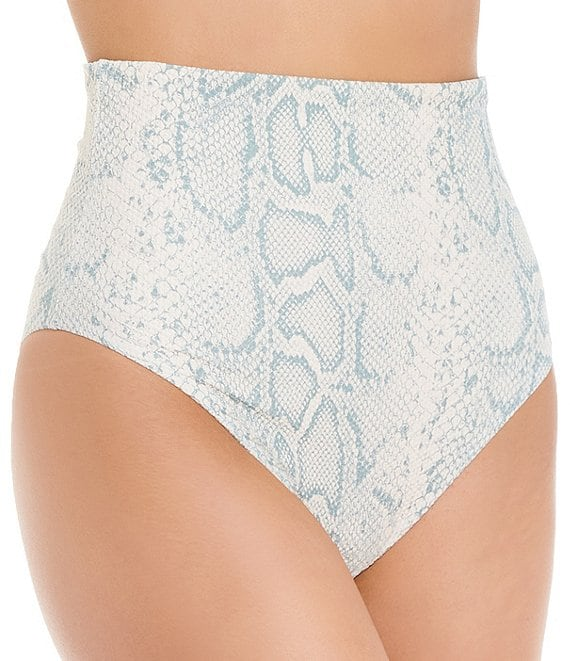 Color:Sage - Image 1 - Viceroy Textured Snake Extreme High Waist Cheeky Swim Bottom