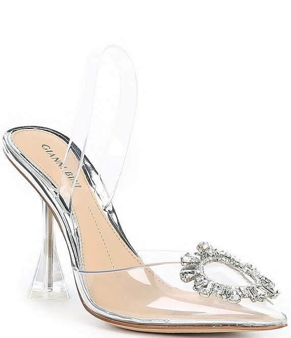 Color:Clear - Image 1 - Vivyee Clear Rhinestone Pointed Toe Pumps